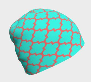 Aperçu de Moroccan Influence in Teal and Coral Beanie