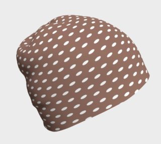 White Polka Dots on Brown Beanie preview
