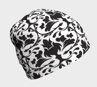 Aperçu de Black and White Damask Beanie