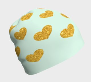 Gold Hearts on Mint Beanie preview