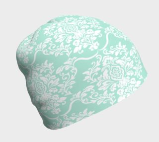 Aperçu de Mint Green Damask Beanie