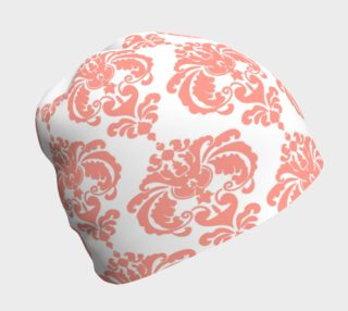 Coral and White Damask Beanie preview