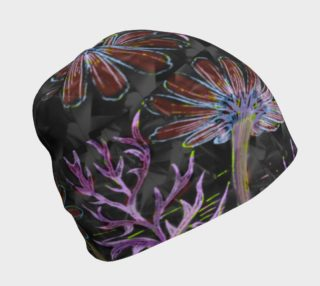 Funky psychedelic flower beanie cap preview