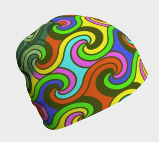 Geometric Swirly Multicolor Adult And Kids Beanie  preview