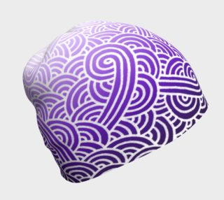 Ombre purple and white swirls doodles Beanie preview