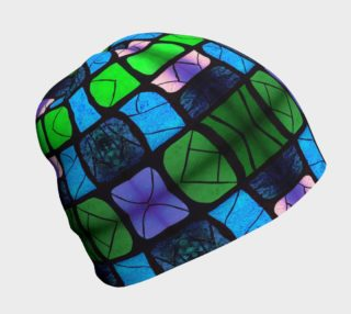 Waterlily Stained Glass - Green Beanie  preview
