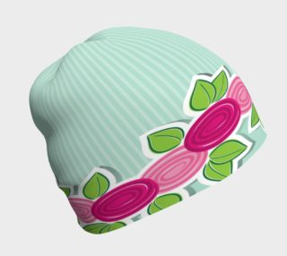 Aperçu de Roses on Mint Stripe Beanie