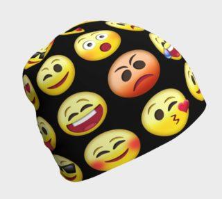 Big Emoji Faces Black Background Beanie, AOWSGD preview