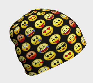 Emoji Faces Black Background Beanie, AOWSGD preview