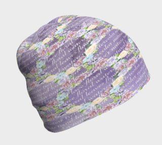Aperçu de Floral Medallions On Purple Script Beanie