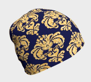 Gold And Navy Print Beanie preview
