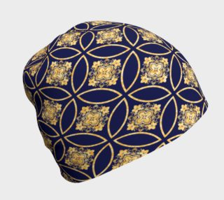 Ornate Gold And Blue Print Beanie preview