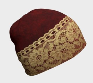 Aperçu de Red Velvet With Gold Lace Band Beanie