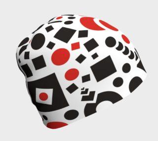 geometric white black red beanie preview