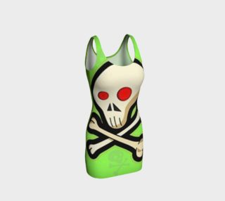 Cartoon Skull On Green Bodycon Dress preview