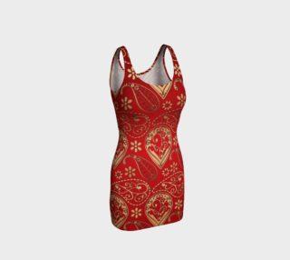 Aperçu de Gold and Red Persian Paisley Bodycon Dress