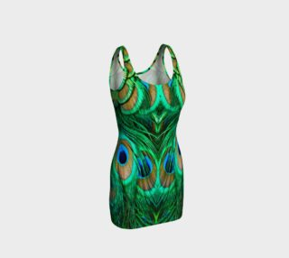 Peacock Feathers Reflection Fitted Dress preview