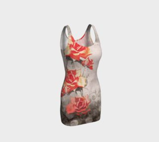Vintage Red Grey Rose Grunge Floral Fitted Dress preview