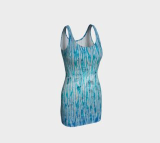 Blue Turquoise Silver Leafy Floral Fitted Dress preview