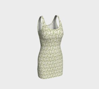 Green Cream Leafy Lace Floral Fitted Dress preview