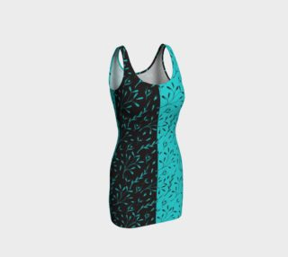 Two Tone Turquoise Black Leafy Floral Fitted Dress preview