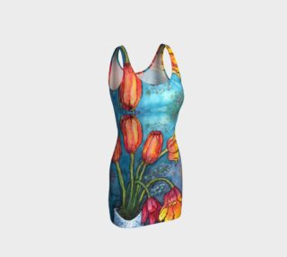 Aperçu de Watercolor Tulips - Bodycon Dress 2