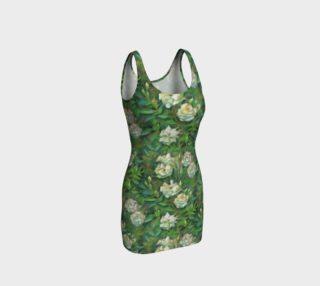 "Aperçu de ""White roses, green leaves"" classical floral pattern"