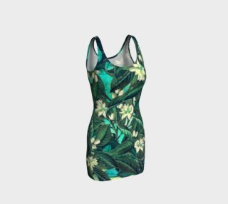 bodycon dress flowers green white preview