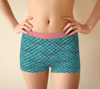 Teal blue and coral pink arapaima mermaid scales pattern Boyshort preview