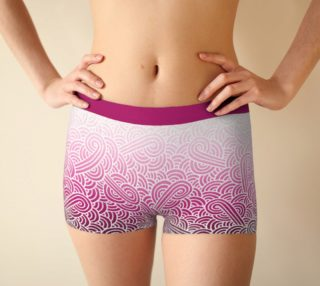 Ombré pink and white swirls doodles Boyshort aperçu