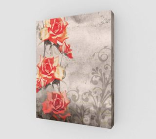 Aperçu de Vintage Red Rose Grey Floral Wall Art