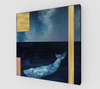 Blue Whale - Gold, Copper And Deep Blue Art Print preview