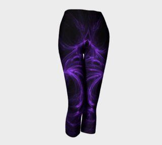 Purple Fractal on Black Capris leggings preview