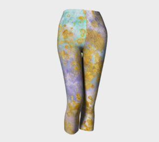 Watercolor and Golden Flakes- Capri Length Leggings preview