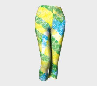 Aperçu de Yellow Blue Green White Paint Stripes Floral Capri Leggings