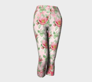 Bold Red Green Wild Rose Floral Capri Leggings preview
