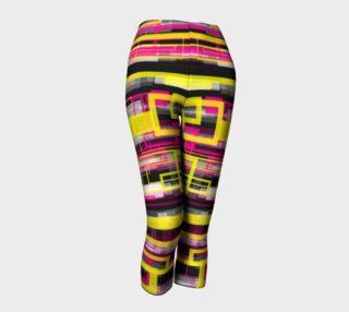 Florescent Pink Yellow Geometric Capri Leggings  preview