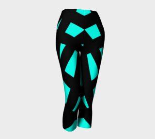 Florescent Turquoise Black Striped Capri Leggings  preview