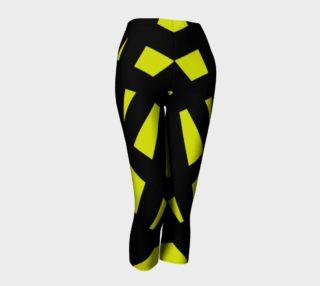 Neon Yellow Black Striped Capri Leggings  preview