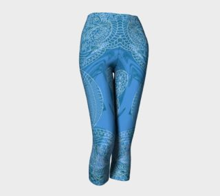 Aperçu de Hand Drawn Batik Style Capri Leggings by Tabz Jones