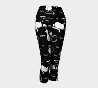 The Word for Cat Cute White Kittens on Black Capris preview