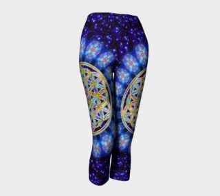 Flower Of Life Blue Colored Gold Stars Heaven capri preview