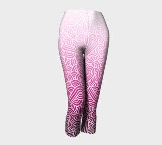 Aperçu de Ombre pink and white swirls doodles Capris
