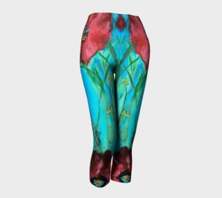 Big Red Garden Poppies Abstract Capris  preview