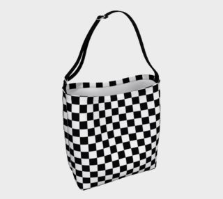 Black White Checker Board Pattern Day Tote preview