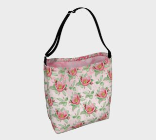 Aperçu de Bold Red Green Wild Rose Floral Day Tote