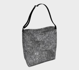 Grey and black swirls doodles Day Tote preview
