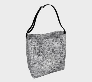 Grey and white swirls doodles Day Tote preview