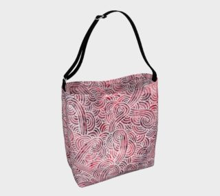 Red and white swirls doodles Day Tote preview