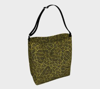 Faux gold and black swirls doodles Day Tote aperçu